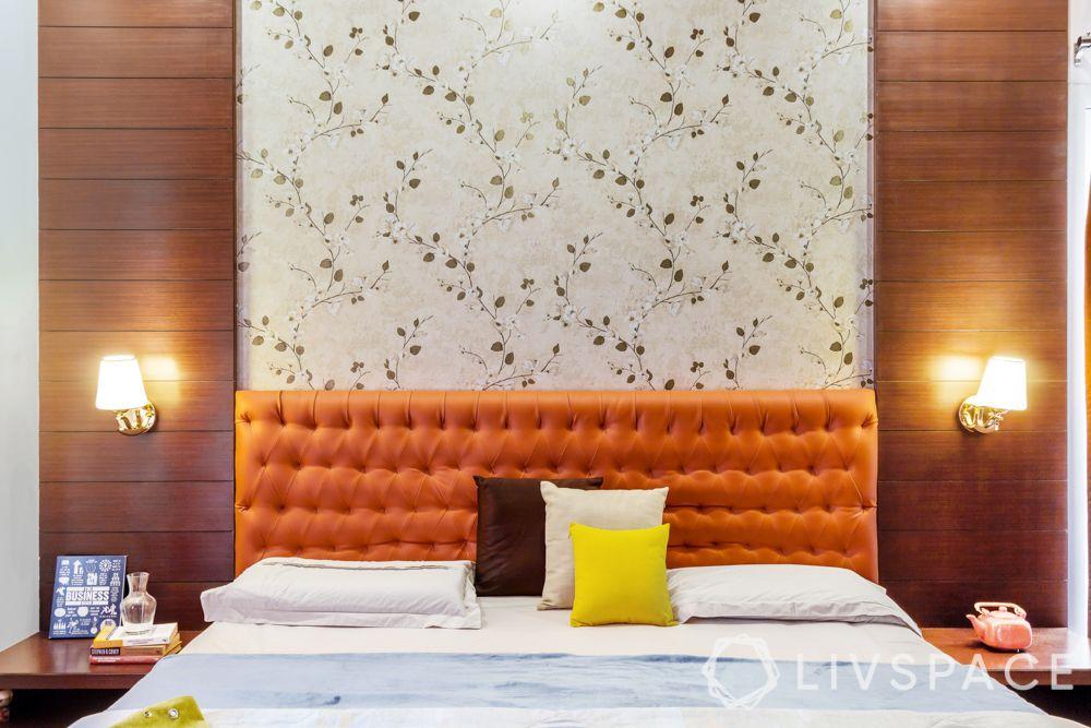 modern house interior-master bedroom-colours-orange-wooden