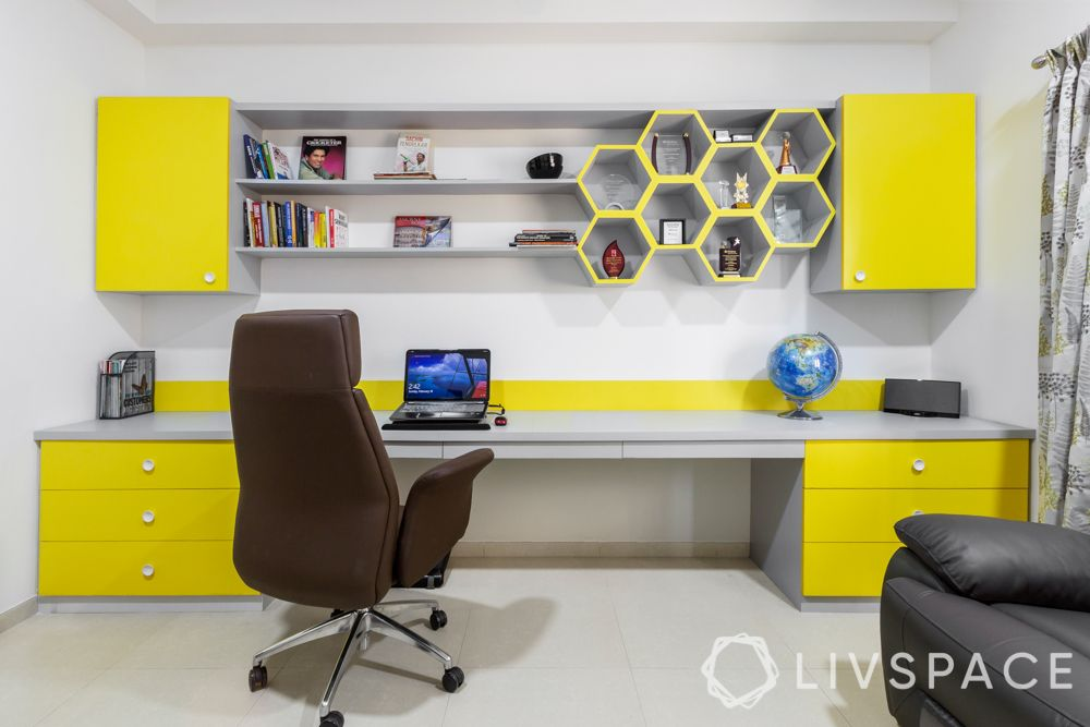 modern house interior-study room-table-yellow shelves
