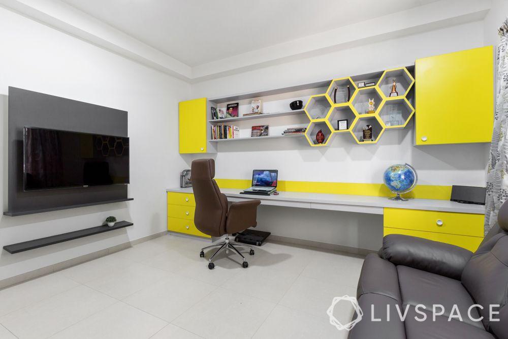 modern house interior-study room-tv-recliner