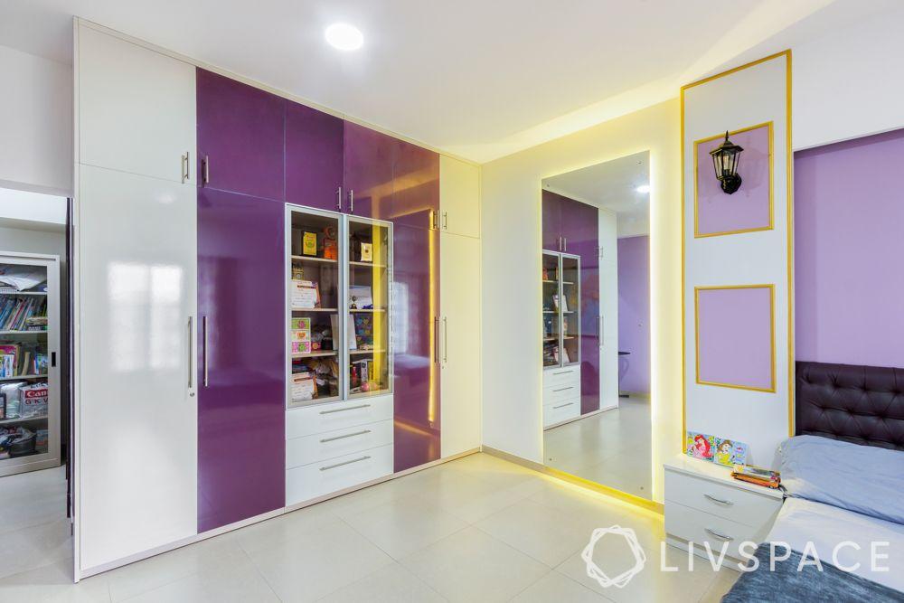 modern house interior-daughters bedroom-mirror-wardrobes