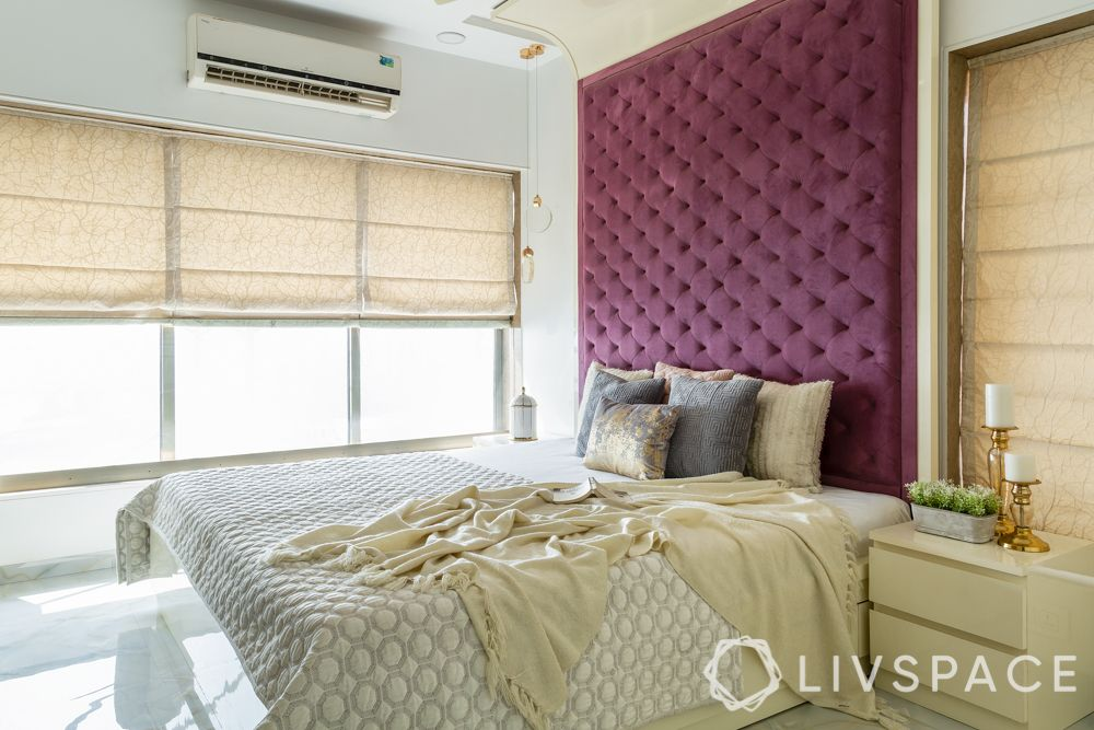 interior design for 2bhk-full length headboard-purple headboard