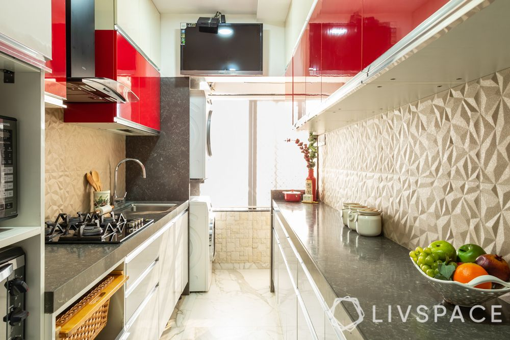 interior design for 2bhk-red and white kitchen-easy to clean kitchen