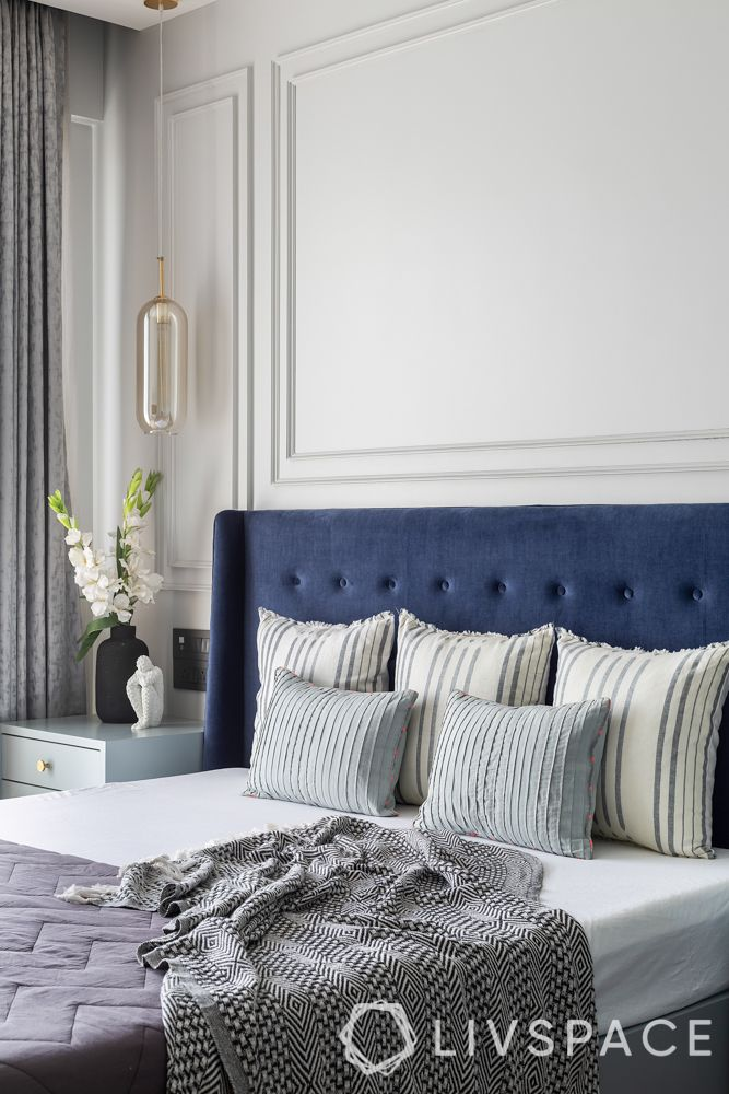 design styles for home-minimal glam style-blue headboard