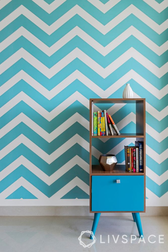 design styles for home-mid century modern style-blue chevron wallpaper