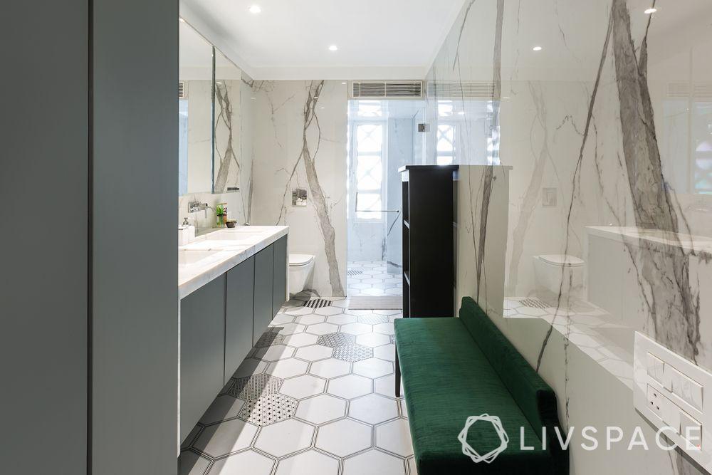 ceramic bathroom-green bench-marble