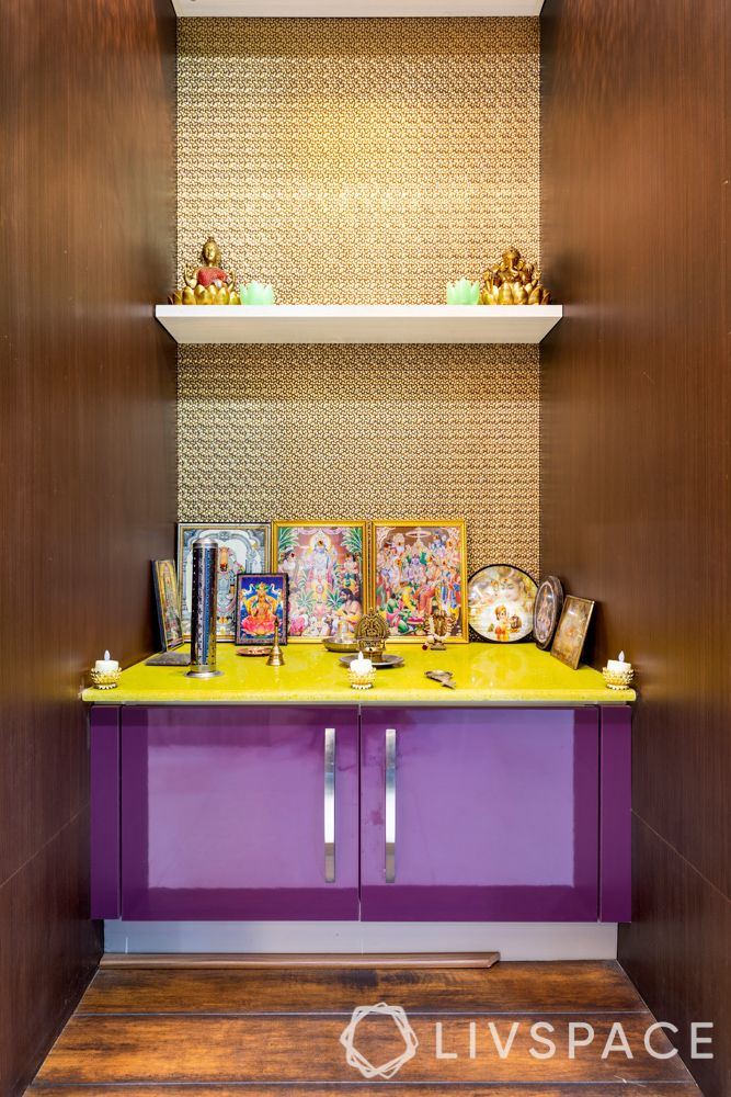 pooja room ideas-colourful cabinet-purple shutter-metallic backdrop