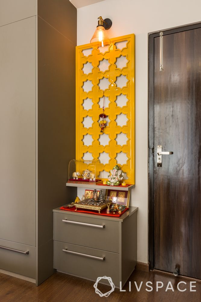 pooja room ideas-laser cut panel-yellow-light