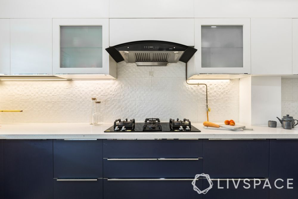 low budget house design-kitchen-textured white tiles-backsplash