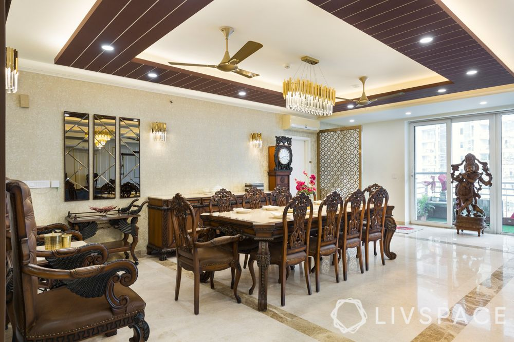 traditional home design-dining table-wooden furniture-marble flooring-false ceiling