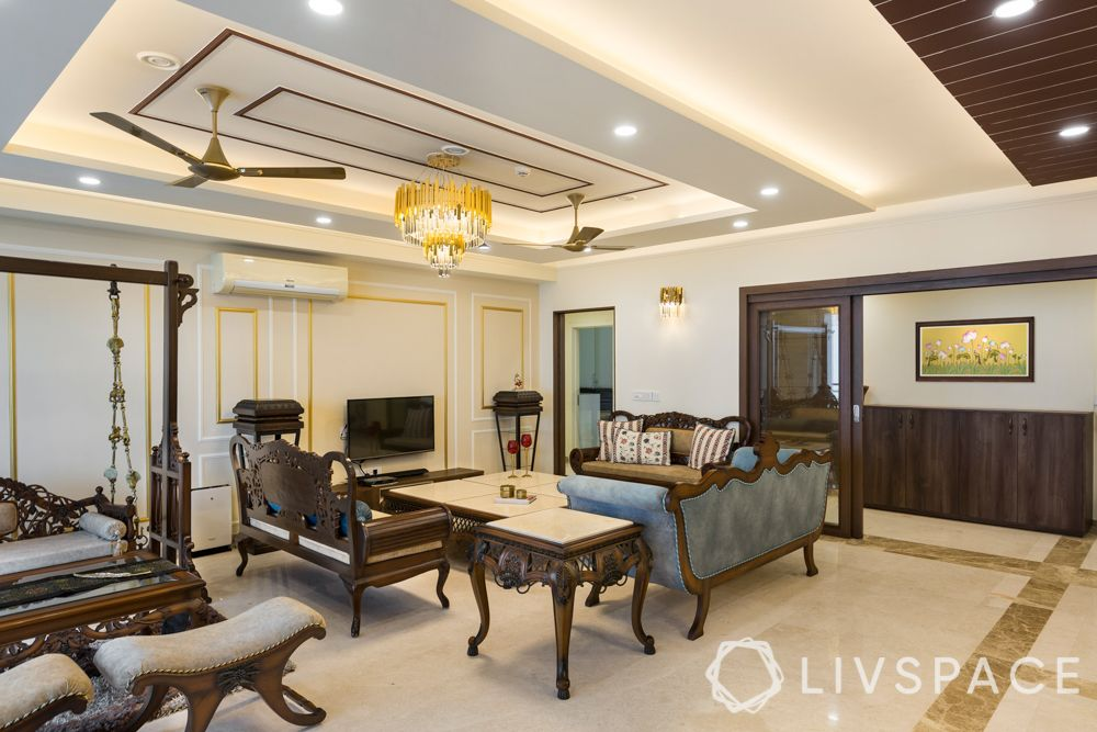 living room swing set-gold and white trims-false ceiling
