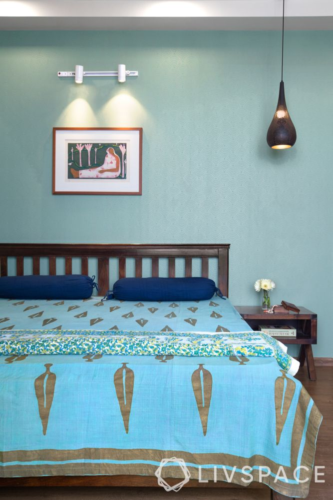 indian interior design-blue wall-blue bed sheet