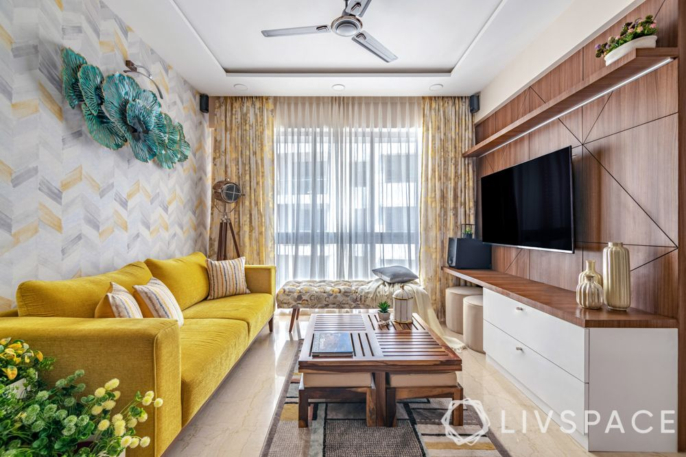 interior design for 2bhk flat-yellow sofa-sheer curtains