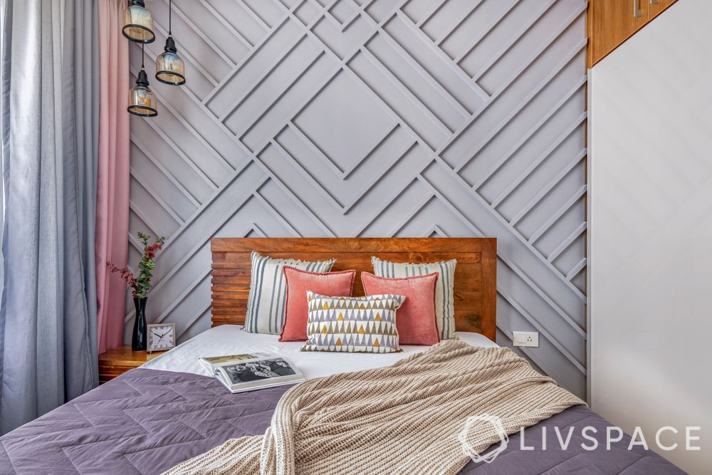 interior design for 2bhk flat-wooden bed-grooved wall
