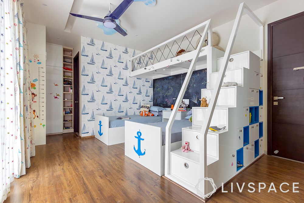 kids room design-blue bunk beds
