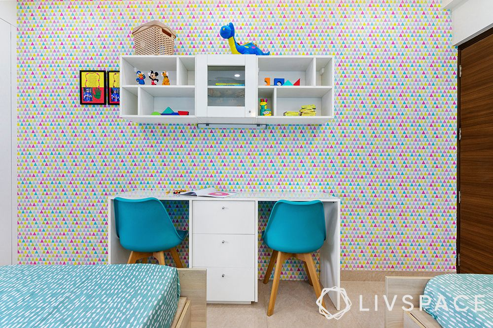 kids room wallpaper-study unit for two