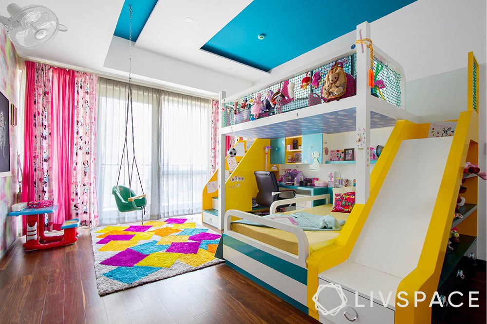 colourful kids room-kids room with swing