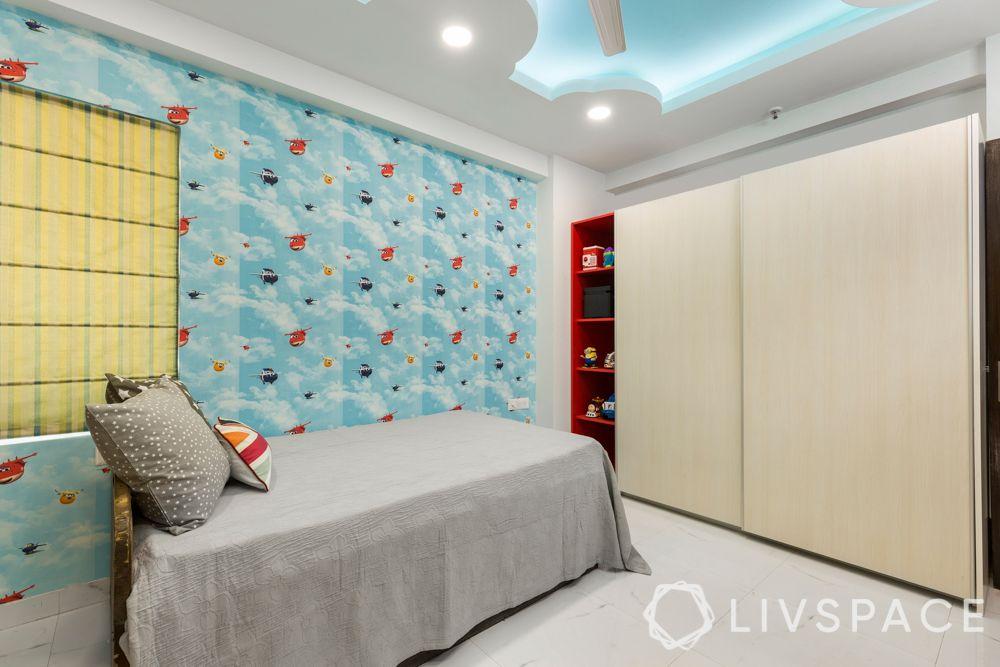 interior designer in greater noida-kids-room-laminate wardrobe-shelves