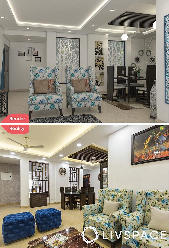 interior designer in greater noida-render-reality-living room