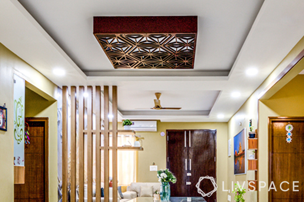 best interiors in hyderabad-false ceiling designs-wooden jaali