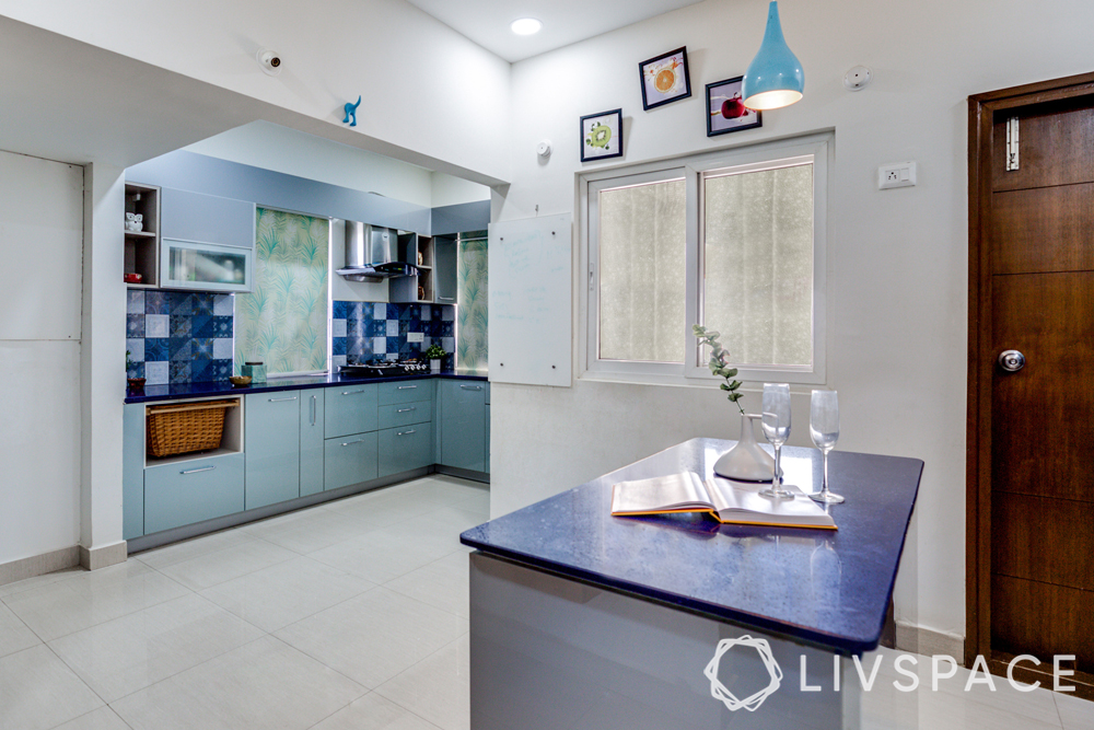 best interiors in hyderabad-blue kitchen-island kitchen