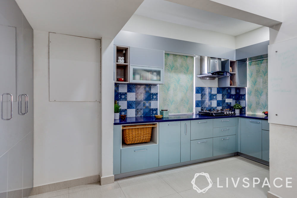 best interiors in hyderabad-blue kitchen-acrylic finish