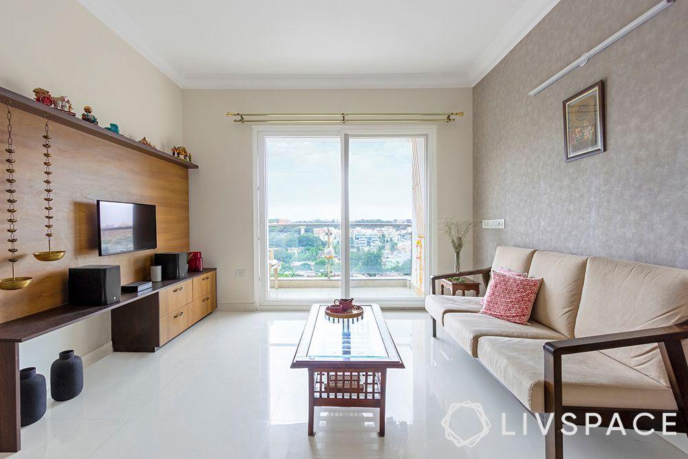 Livspace Advantage-wooden tv unit design-neutral colour-grey wallpaper-coffee table