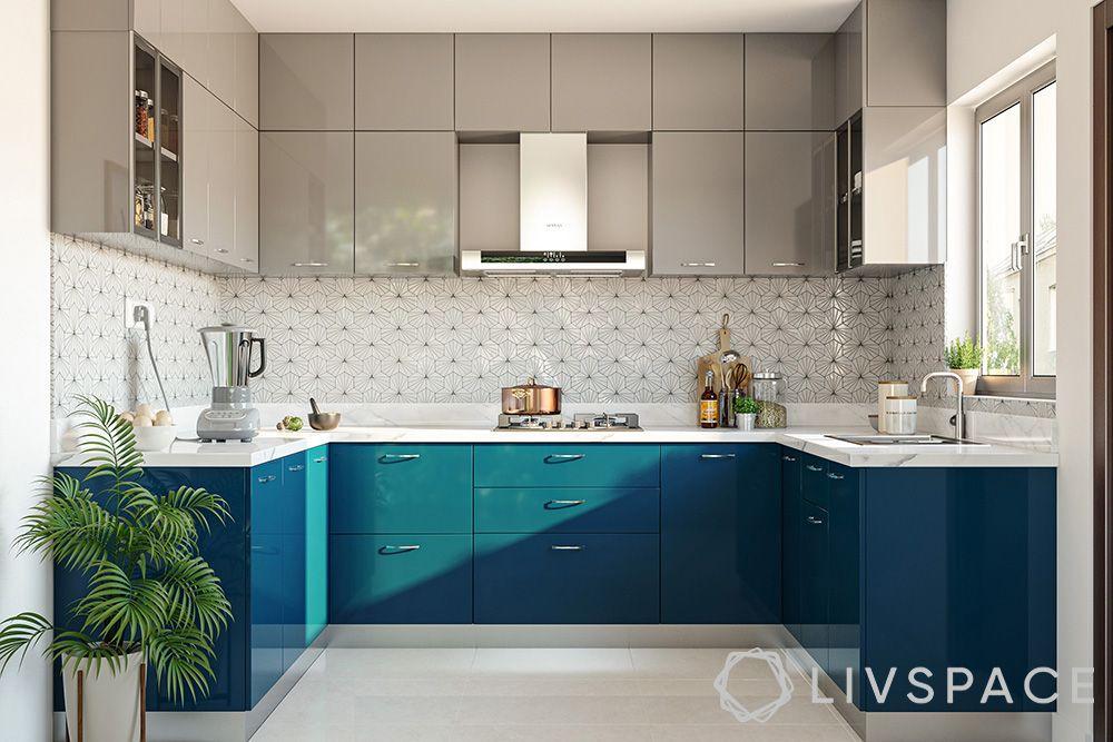 Livspace Advantage-blue base cabinets-grey wall cabinets-U-shaped kitchen