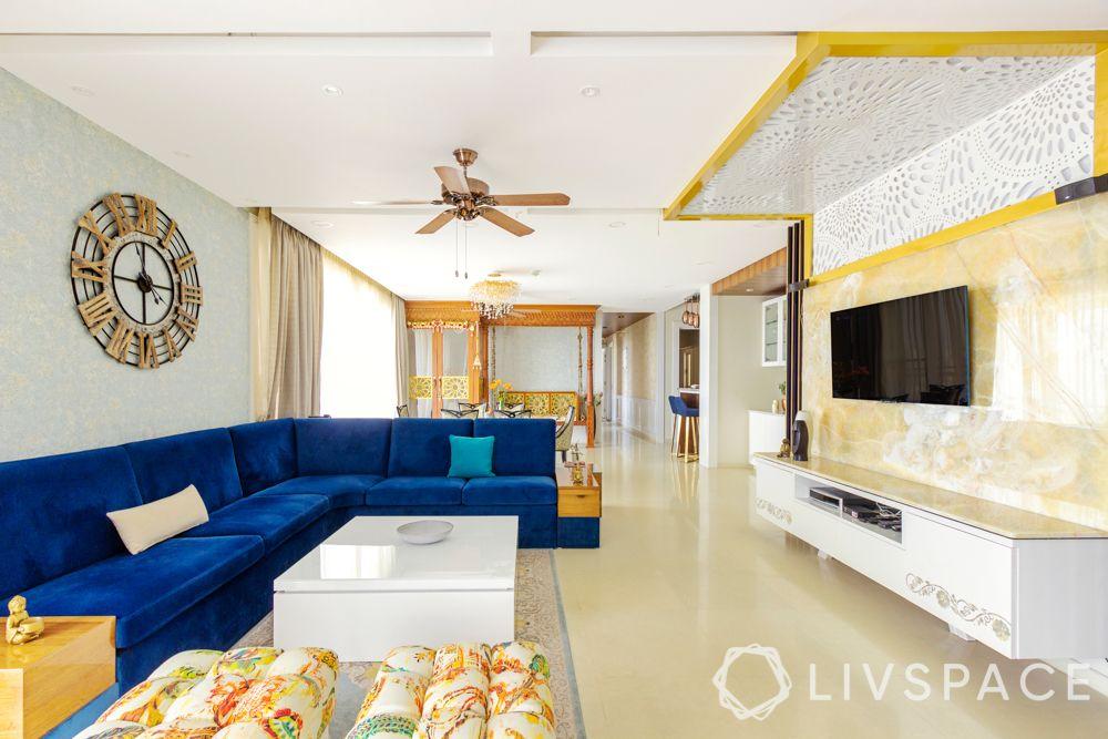 designer-false-ceiling-living-room-patterned ceiling