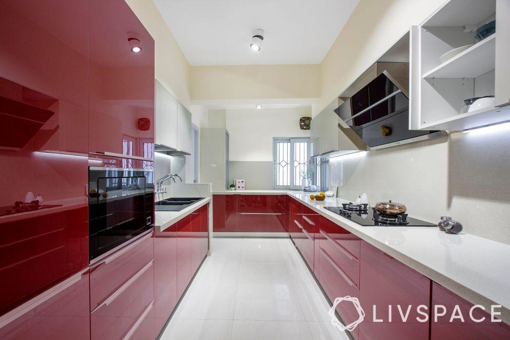vitrified tiles vs marble-tile flooring-red and white kitchen