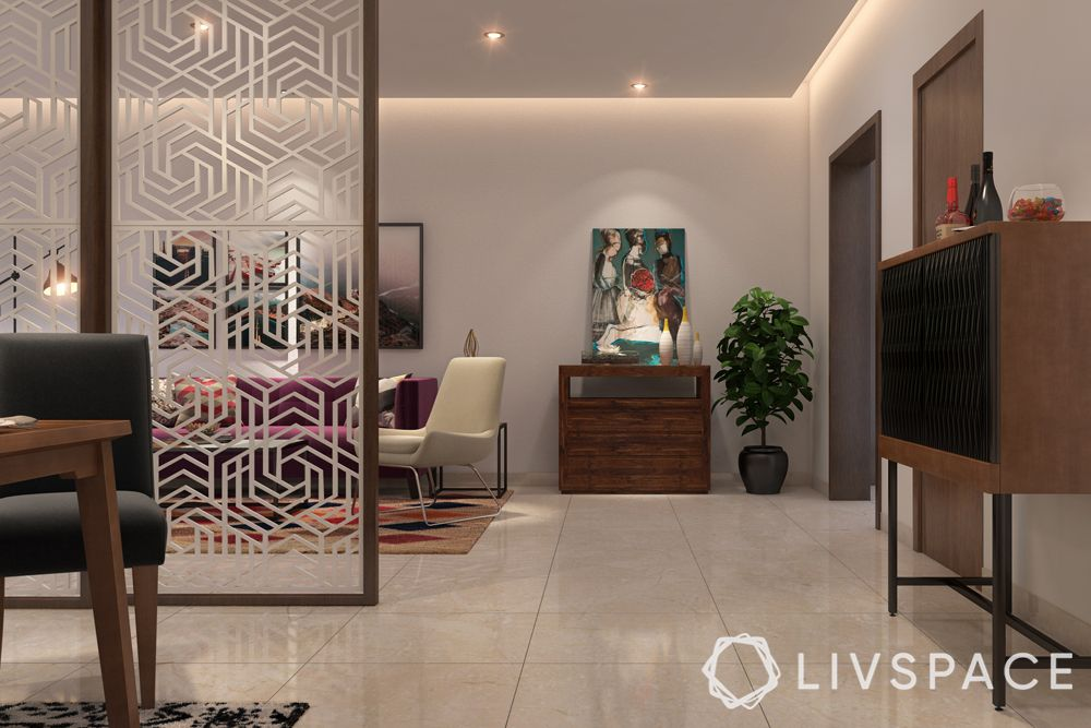 vitrified tiles vs marble-tiles flooring-jaali partition-sofa