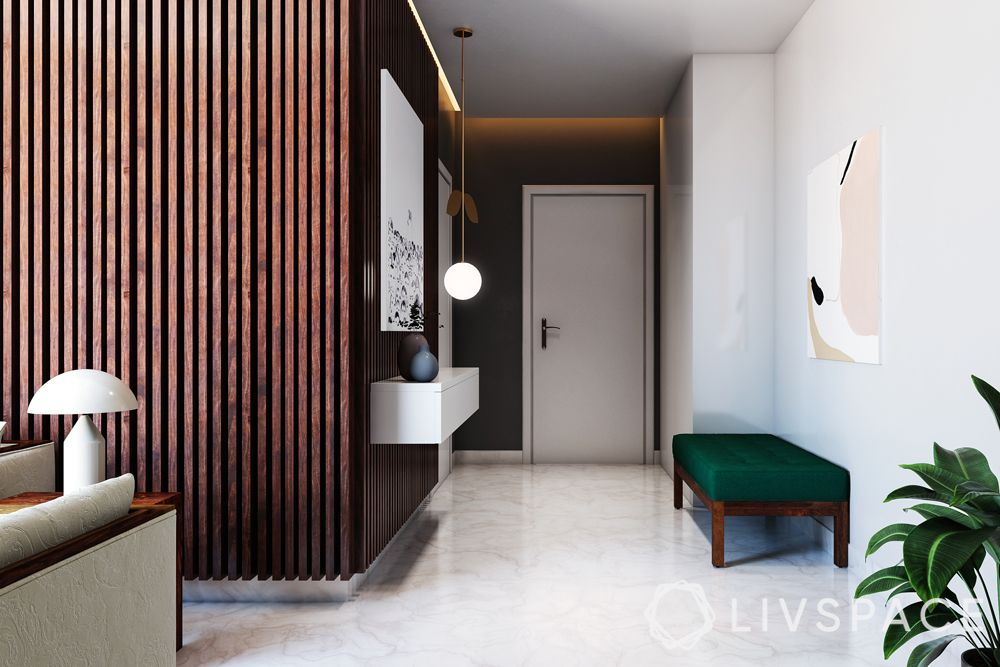 vitrified vs marble-flooring-green bench-lighting-foyer