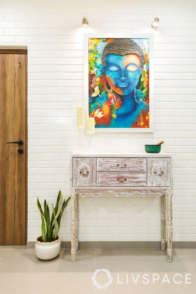mumbai interior designer-white distressed console-artwork