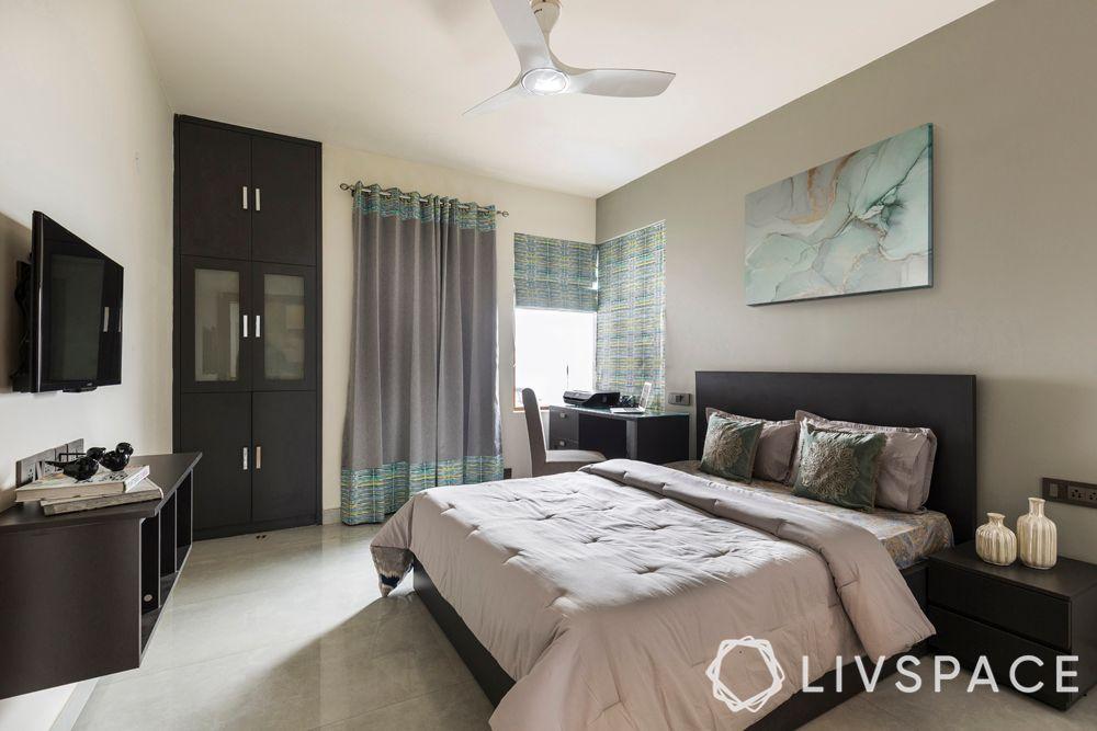 guest-bedroom-wardrobe-bed-grey-wall-TV-unit