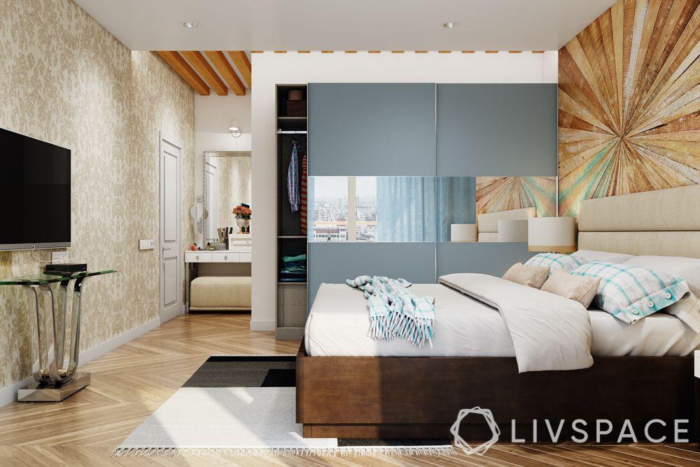 wardrobe-with-mirror-wallpaper-bedroom-TV-unit