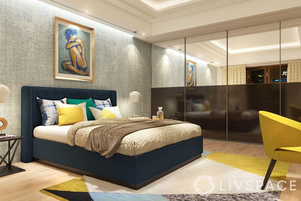 wardrobe-with-mirror-half-bedroom-chrome-coated