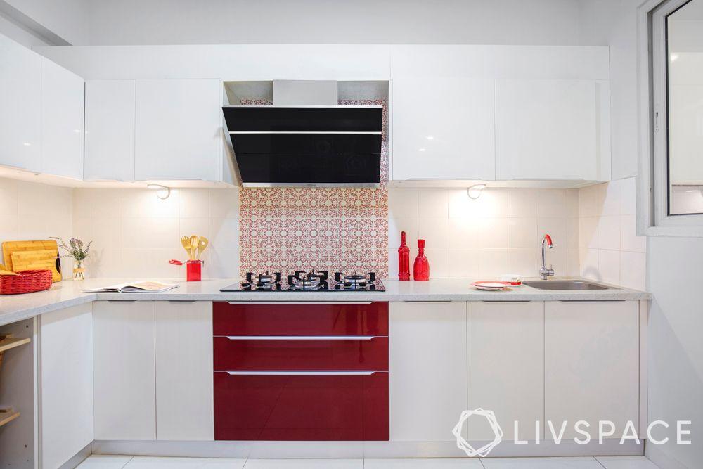 indian style kitchen design-chimney-red and white kitchen