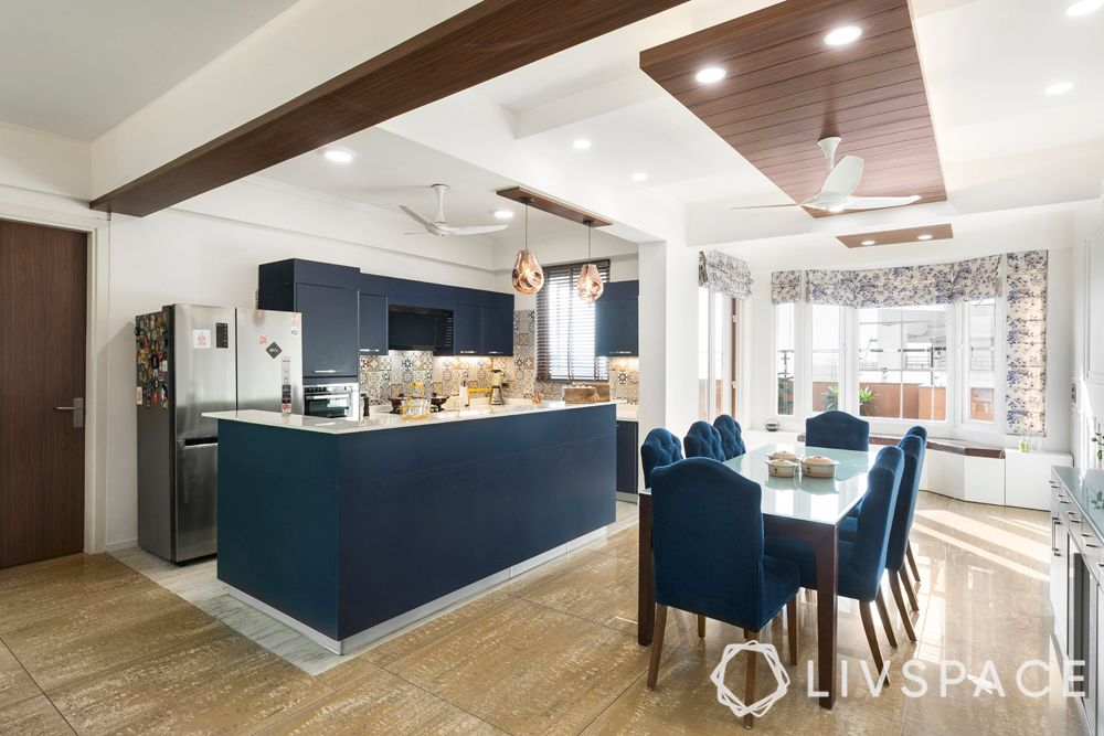 indian style kitchen design-open kitchen-blue kitchen