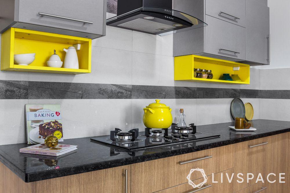 spice racks-kitchen open shelves