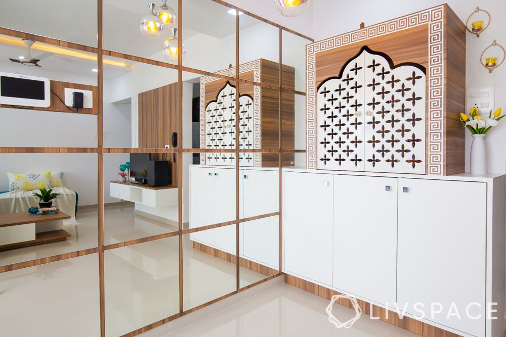 pune interiors-mirror panel-pooja unit