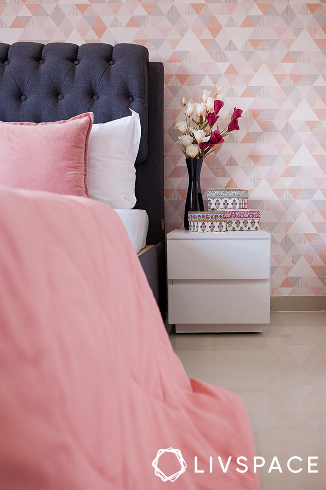 pune interiors-pink wallpaper