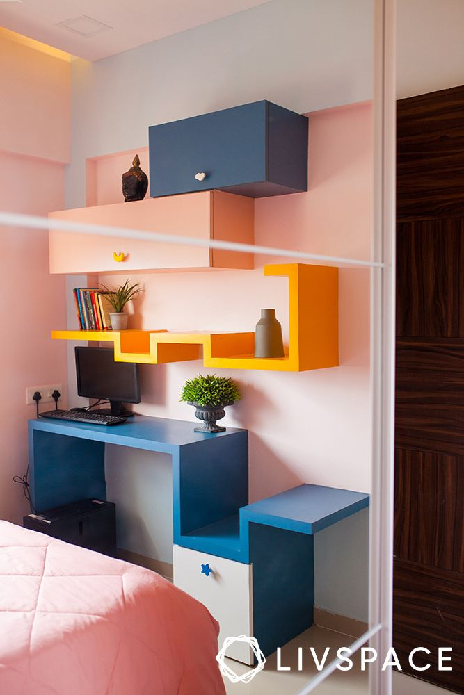 pune interiors-study unity-colourful shelves
