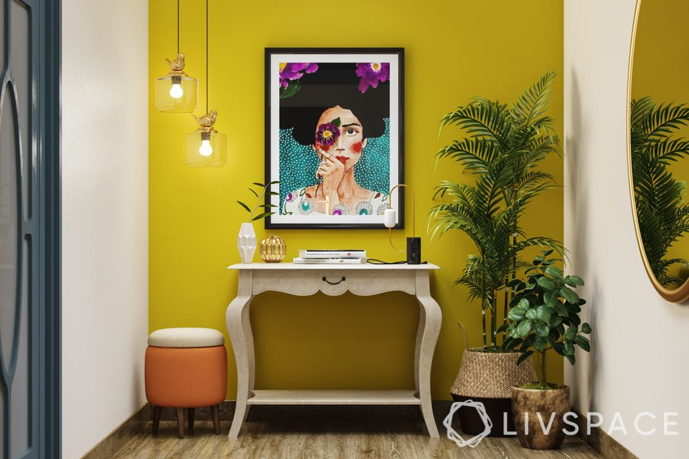 decorating-with-plants-palm-basket-yellow-wall