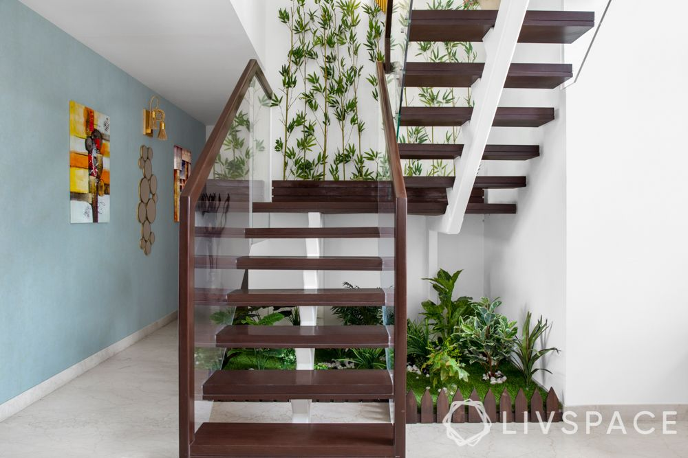 plants-under-staircase-fence