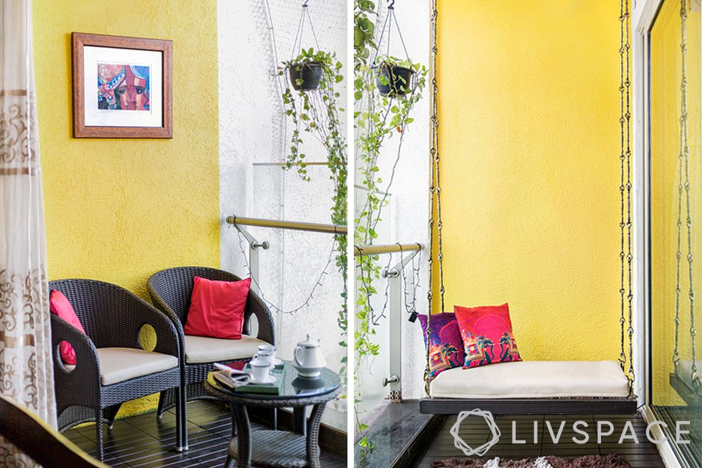 small-balcony-ideas-furniture-swing-yellow-wall