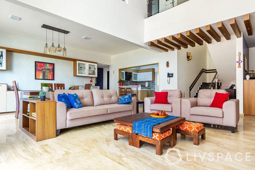 villa interiors-nested stools-brown sofa