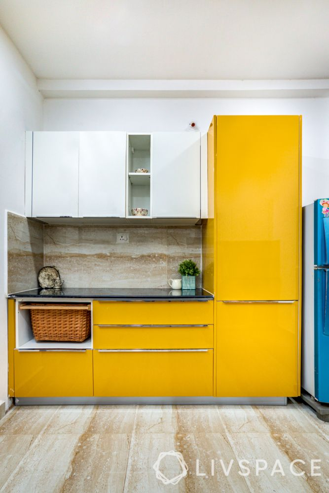 hyderabad-yellow kitchen-tall kitchen unit