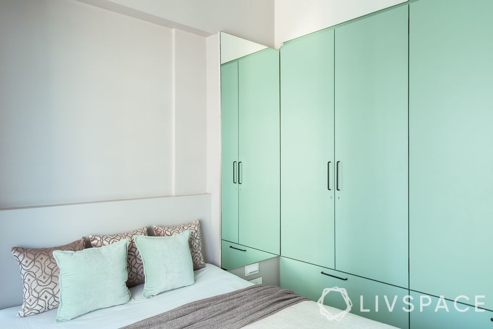green wardrobe- laminate finish wardrobe