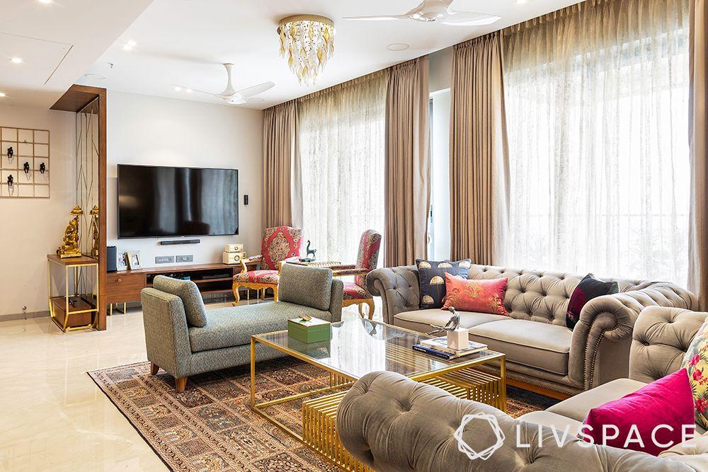 duplex interior design-chesterfield sofa-pink cushions