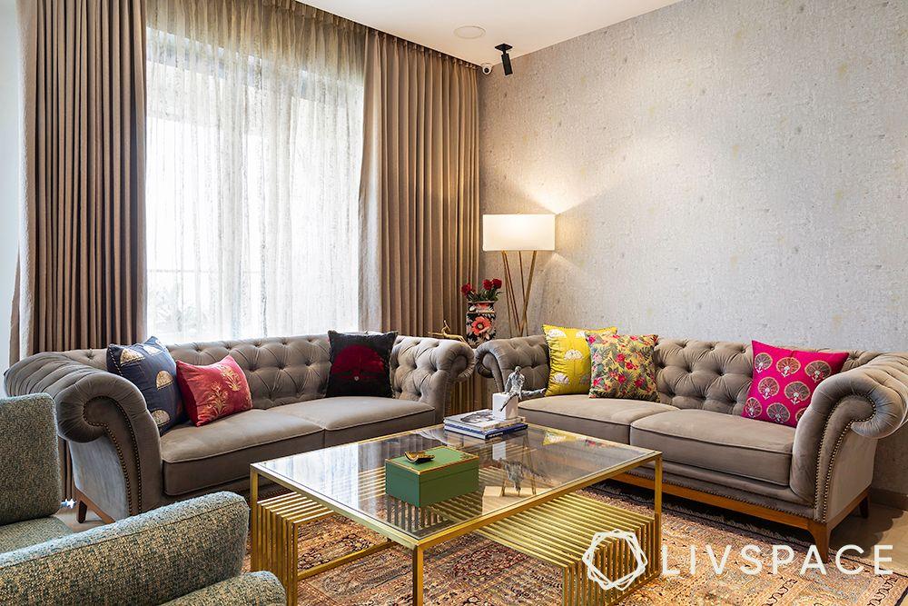 chesterfield sofa-custom table
