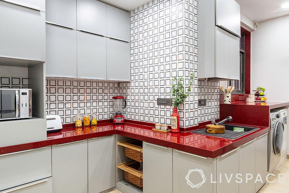 duplex interior design-red kitchen countertop-quartz countertop